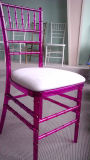 Clear Red Resin Chiavari Chair with Cushion