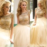 A-Line Cocktail Dress Evening Gown Crystals Vestidos Sheer Prom Dresses (B201507)