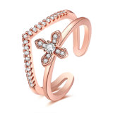 Rose Gold Plated Cross Cubic Zirconia Open Ring Fashion Jewelry