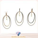Wholesale Woman′s Fashion Jewelry AAA CZ & Pearl 925 Silver Set (S3320)