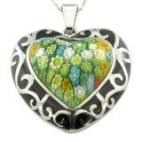 Resin Enamel Heart Fashion Millefiori Pendant