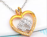925 Sterling Silver Heart Gold Heart Silver Footprint Necklace Pendant