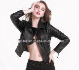 Women′s Fashion Leather Jacket European Brand Leather Jacket PU Coats for Ladies