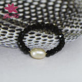 Popular Black Natural Spinel Round Beads Charm Rings (2016 Gus-FSR-005)