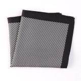 Fashionable Black Silk Polyester Stripe Printed Pocket Square Hanky Handkerchief