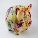 Full Decal Hotsale Ceramic Pig Gold Piggy Bank for Kids
