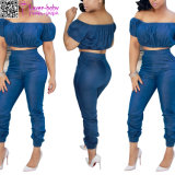 off The Shoulder Top and High Waist Jeans Pants Set L28221