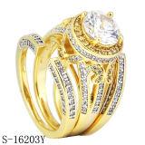 Silver Jewelry 925 CZ Rings 3PCS Diamond Engagement Rings