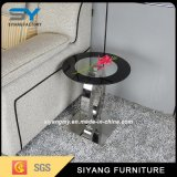 Living Room Furniture Glass Side Table Stainless Steel Corner Table