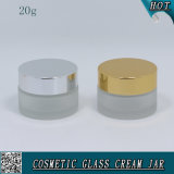 20ml Frosted Cosmetic Glass Jar for Cream with Metal Lid