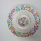 Bamboo Fiber Chips & DIP Serving Tray Serving Plate Paisley Design Tableware