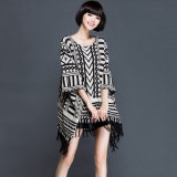 Lady Fashion Acrylic Kntted Winter Fringe Poncho (YKY2061)