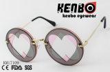 Round Lens Between Two Heart Shape Cut Lens Latest Fashion Sunglasses Km17109