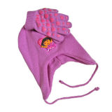 Cute Children Earflap Knitted Hat and Glove (JRK091)