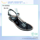 Woman Lady Flat Clip Toe Black PVC Sandal with Rhinestone