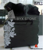 Black Granite Tombstone / Headstone with Rosettes Carved