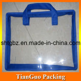 Transparent Handle Bag with Blue Binding