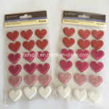 Red Pink White Glitter 3D Hearted Sticker