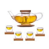 Bamboo Coaster Tea Pot Set Glass Coffee Set