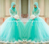 Blue Tulle Dresses Long Sleeves Muslim Formal Ball Gown Wedding Dress Yao56