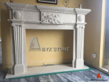 Crema Ultraman Marble Flower Carving Fireplace for Indoor Decoraction