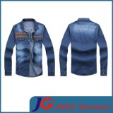 PU Leather Chest Patch Men Long Fashion Jean Dress (JC7038)