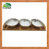 Ceramic Snack Plates Dishes with Bamboo Base