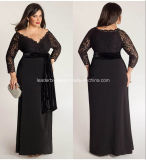 Plus Size Mother of Bride Dress Lace Long Sleeve Black Mother′s Dresses Z4007