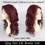 Wholesale Human Hair Lace Wig Colorful Wig 99j Wig Full Lace Wig Lace Front Wig Customized Label