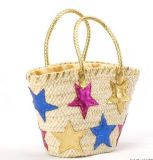 Fashion Straw Beach Bag Star Decorate Tote Bag (T848)