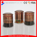Set of 3PC Metalic Golden Finish Glass Canisters