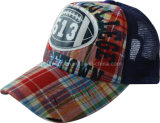 Fashion Print Plaid Fabric Sports Mesh Trucker Cap (TRT052)