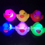 Printed Logo Baby Bath LED Flashing Rubber Ducks Toy