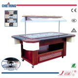 Cheering Marble Table Wooden Body Salad Bar for Buffet