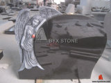 Black Granite Antique Angel Carving Headstone Monument