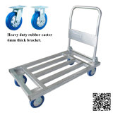 500kg Steel Tube Folding Hand Trolley with Blue Rubber Caster