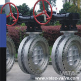 High Performance Cast Ironxcast Steel Double Flanged Butterfly Valve Gear