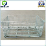 Warehouse Metal Folding Mesh Pallet Containers Cages with Wooden Pallet