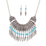 Fashion Vintage Leaves Tassel Bohemian Statement Necklace Earring Jewelry Set