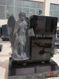 Shanxi Black Granite Angel Sculpture Headstone/Stone Tombstone