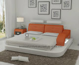 Lb8802 Modern Designer Furniture LED Light Adjustable Headrest Leather Bed
