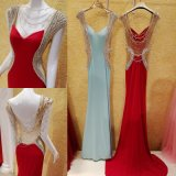 Spandex Party Prom Gowns Beading Backless Evening Dresses E16832