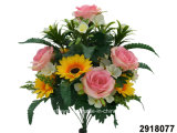 Artificial/Plastic/Silk Flower Rose/Sunflower Mixed Bush (2918077)