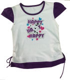 100% Cotton Flower Girl T-Shirt in Children Clothes with String Sgt-041