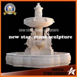 Beige Marble Stone Carving Water Fountain