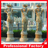 Stone Carving Yellow Marble Roman Column for Home Decoration