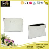 China Supplier Middle Rectangle Handle White Leather Jewelry Bag