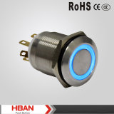 TUV UL 19mm Ring LED Colored Pin Terminal Illuminated Metal Push Button Switch