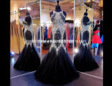 Crystals Black Prom Gowns Mermaid Mother Evening Dresses Z4014