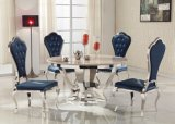 Stainless Steel Termpered Glass Round Luxury Chair Dining Table